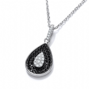 "J-Jaz Micro Pave' Black & Clear Cz Teardrop Pendant with 18"" Chain"
